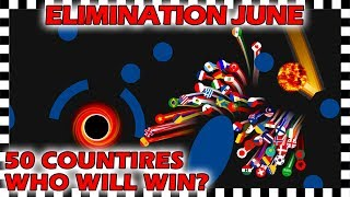 Marble Race Elimination - Top 50 Countries By Watch Time For June 2019 - Algodoo
