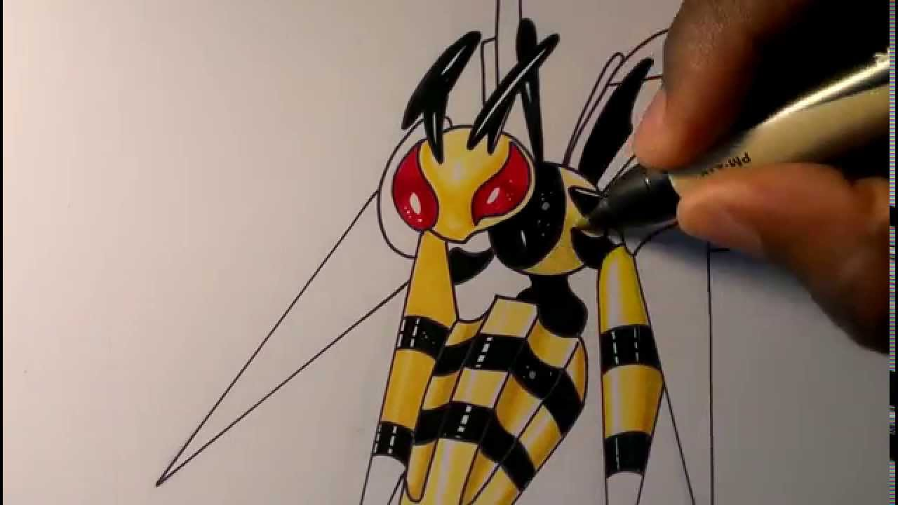 how to draw mega beedrill easy
