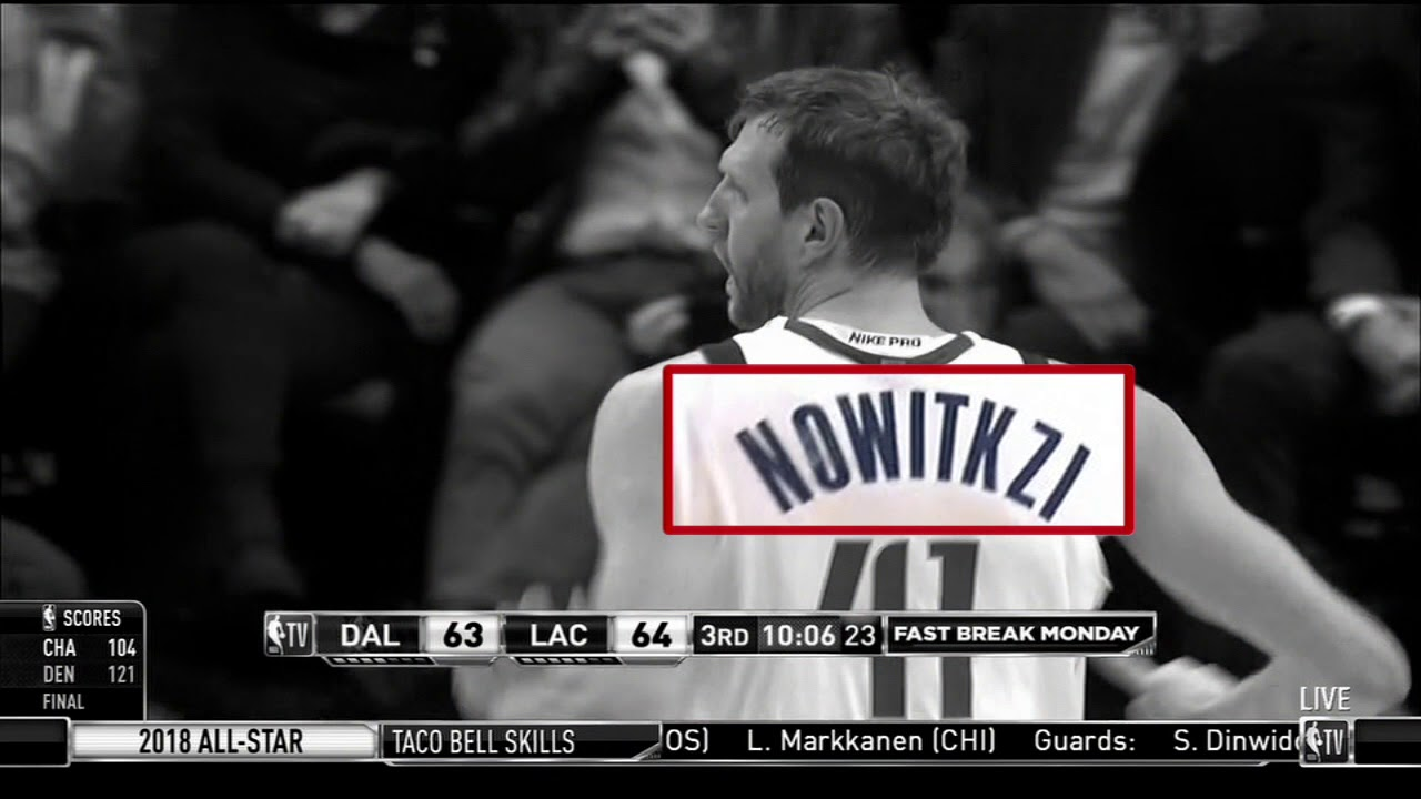 Dirk Nowitzki starts second half with jersey that has his last name spelled wrong | ESPN