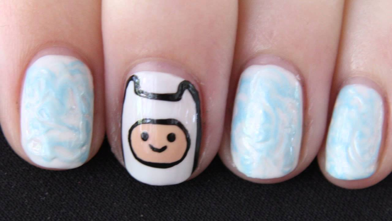 Finn the Human Nail Art - Adventure Time Nails - YouTube