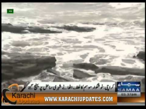 karachi Citizens enjoy pleasant weather to the coast reached