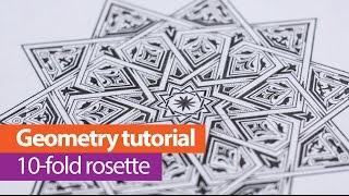 How to draw Islamic geometry - 10-point star - Full tutorial