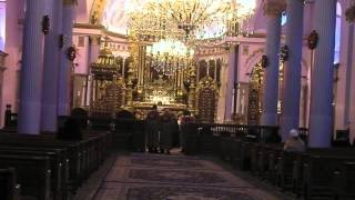 Interior of the church and mass in Armenian