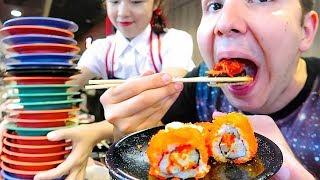 100 Sushi Challenge ? Sushi Bar Conveyor Belt Buffet ? MUKBANG