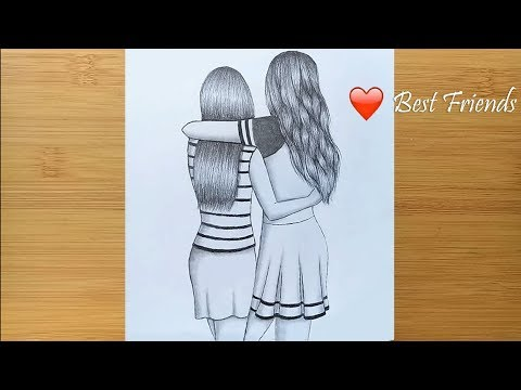 Best friends Б  pencil Sketch Tutorial  How To Draw Two Friends Hugging Each other