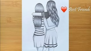Best friends ❤  pencil Sketch Tutorial || How To Draw Two Friends Hugging Each other