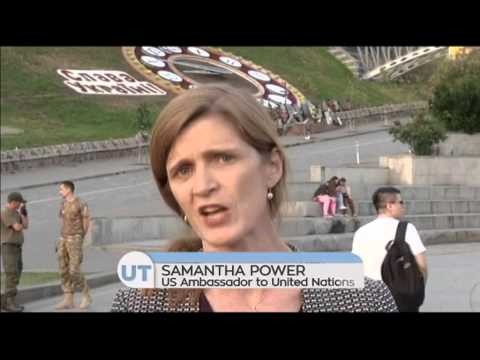 Samantha Power in Kyiv: US ambassador to UN visits memorial in Ukrainian capital