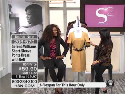 Serena Williams Short-Sleeve Ponte Dress with Belt