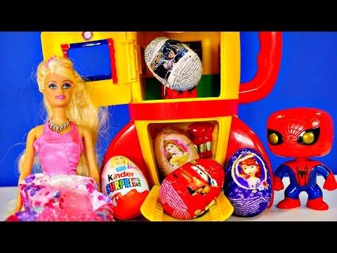 7 Kinder Surprise Eggs Barbie Batman Spiderman Cars Hot Wheels Sofia The First Disney Princess Toys