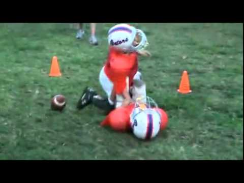 Crazy peewee football hit