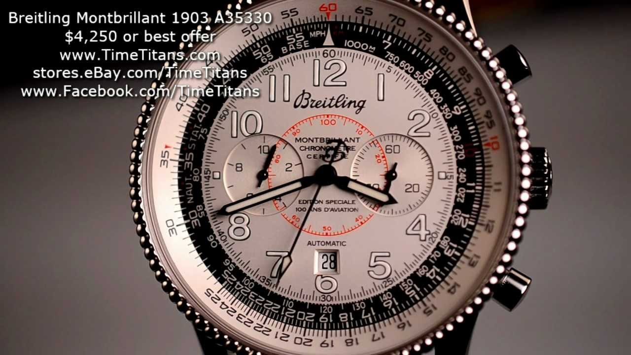Breitling Special Edition >> Breitling Montbrillant 1903 Edition Special A35330 B35 Flyback 10 Minute Chrono NOS - YouTube