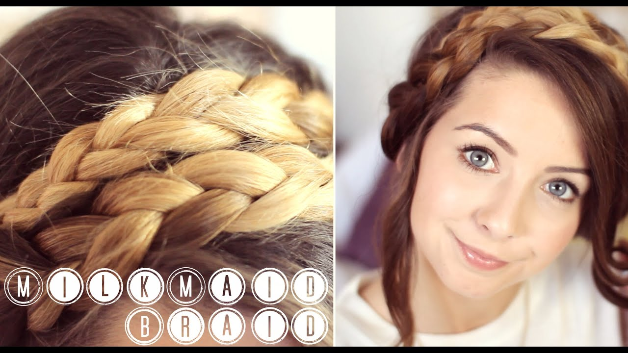 How To: MilkMaid Braid Up-do | Zoella - YouTube