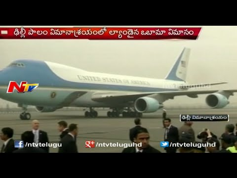 Obama's Air Force One Landed in Palam Airport Delhi