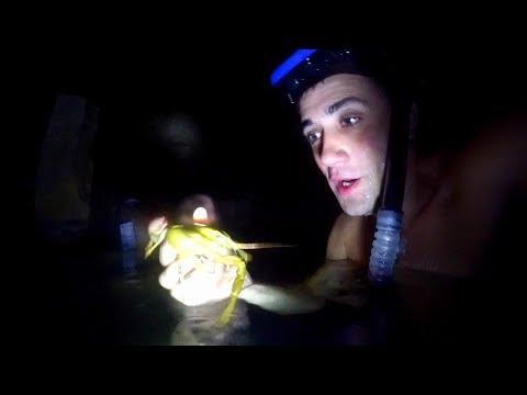 Подводная охота на раков ночью. Подводный фонарик  из поллитровой банки