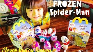 2016 Peanuts Movie Snoopy and the Gang Happy meal Spiderman, Frozen Disney Kinder Surprise Eggs