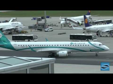 Air Dolomiti Embraer ERJ195 Landing and roll to the parkposition