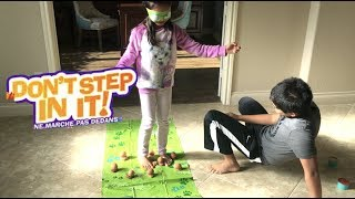 Lil Sis VS Big Bro Don't Step In It! with REAL Eggs Fun Game + Surprise Toy   Toys Academy