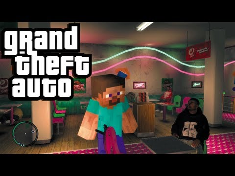 Minecraft in GTA 4! (GTA Funny Moments with Mods: Minecraft Steve and a Creeper)