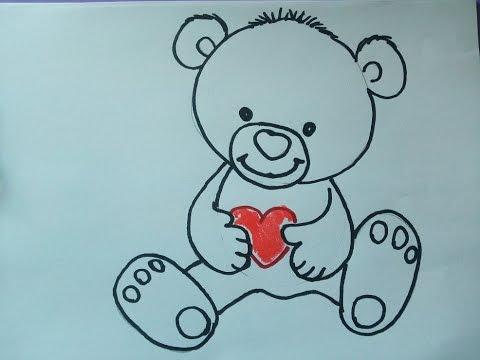 einen teddy (teddybär) zeichnen zeichnen. kuschelbär malen