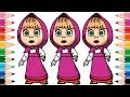 How to Draw Masha and The Bear Step by Step for Kids Coloring Pages Learn Colors for Children MP3