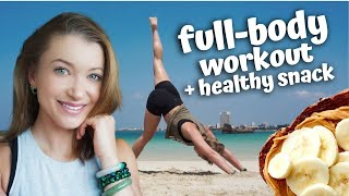 FULL-BODY WORKOUT NO EQUIPMENT | Healthy pre-workout snack