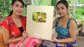 1 Million Subscribers Gold Play Button Award and Yummy cooking egg plant