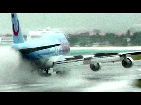 Heavy Rain at Princess Juliana Airport. St Maarten (10 Minutes! No Music! HD1080p)