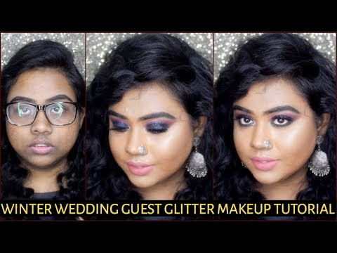 WEDDING GUEST MAKEUP TUTORIAL FOR FALL STEP BY STEP | GLITTER EYE | INDIA