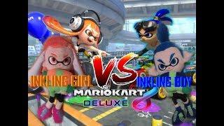 Mario Kart 8 Deluxe Gameplay: Inkling Boy VS Inkling Girl!!!! Race & Battle Match!!!!!