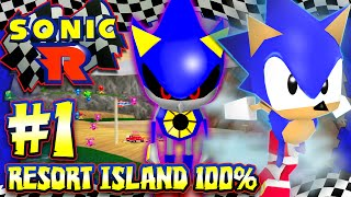 Sonic R - (HD) Part 1 - Resort Island 100% All Coins, Chaos Emeralds, & Metal Sonic