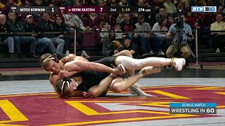 Wrestling in 60:  174 LBS - Mitch Bowman (Iowa) vs. #12  Devin Skatzka (Minnesota)