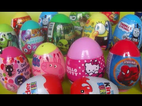 18 Surprise eggs Shrek Spongebob Hello Kitty Peppa Pig