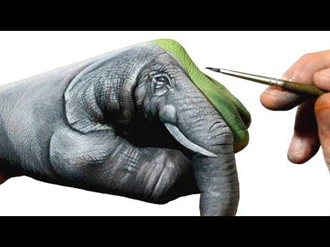 自らの手に象のペイントを施すハンドアートがクオリティ高すぎ!