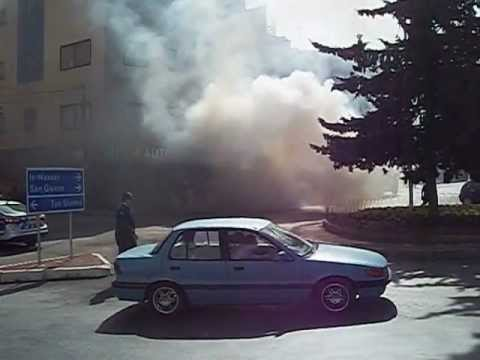 Car ablaze and Fire-fighters: St Julians Malta 19 March 2013