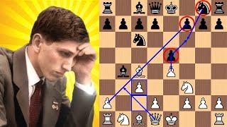 Bobby Fischer blasts Reuben Fine in 17 moves with the Evan
