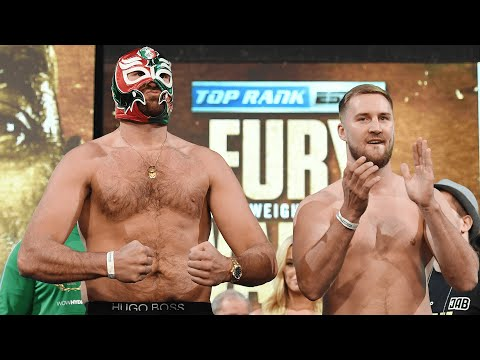 """Get the steel cage out!"" Tyson Fury and Otto Wallin exchange words on stage during face off"