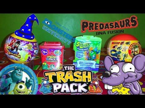 4 Surprise Eggs / Packs - Monsters University. Trash Pack. Magic Snake. Predasaurs! - Unboxing!