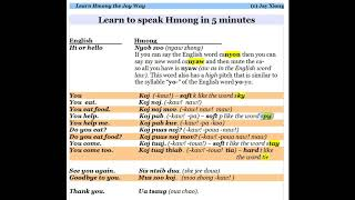 Learn to speak Hmong in 5 minutes