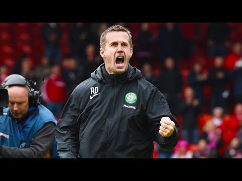Champions Celtic celebrate win at Pittodrie