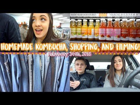 Making homemade kombucha, shopping, and filming! | Feb 24th Vlog