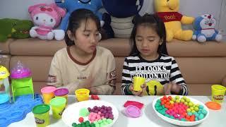 Làm Bi Nhiều Màu Sắc Bằng Đất Nặn Playdol Cho Vào Slime Trong  MN Toys Family Vlogs