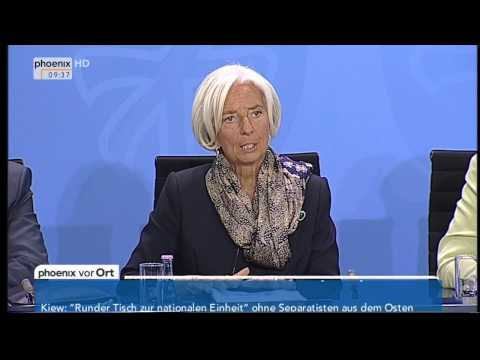 Deutsche Wirtschaft: Pressekonferenz von Angela Merkel und Christine Lagarde am 13.05.2014