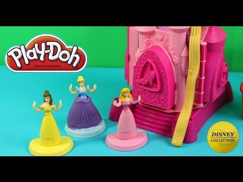 Disney Play Doh Prettiest Princess Castle play set Belle Cinderella and Aurora