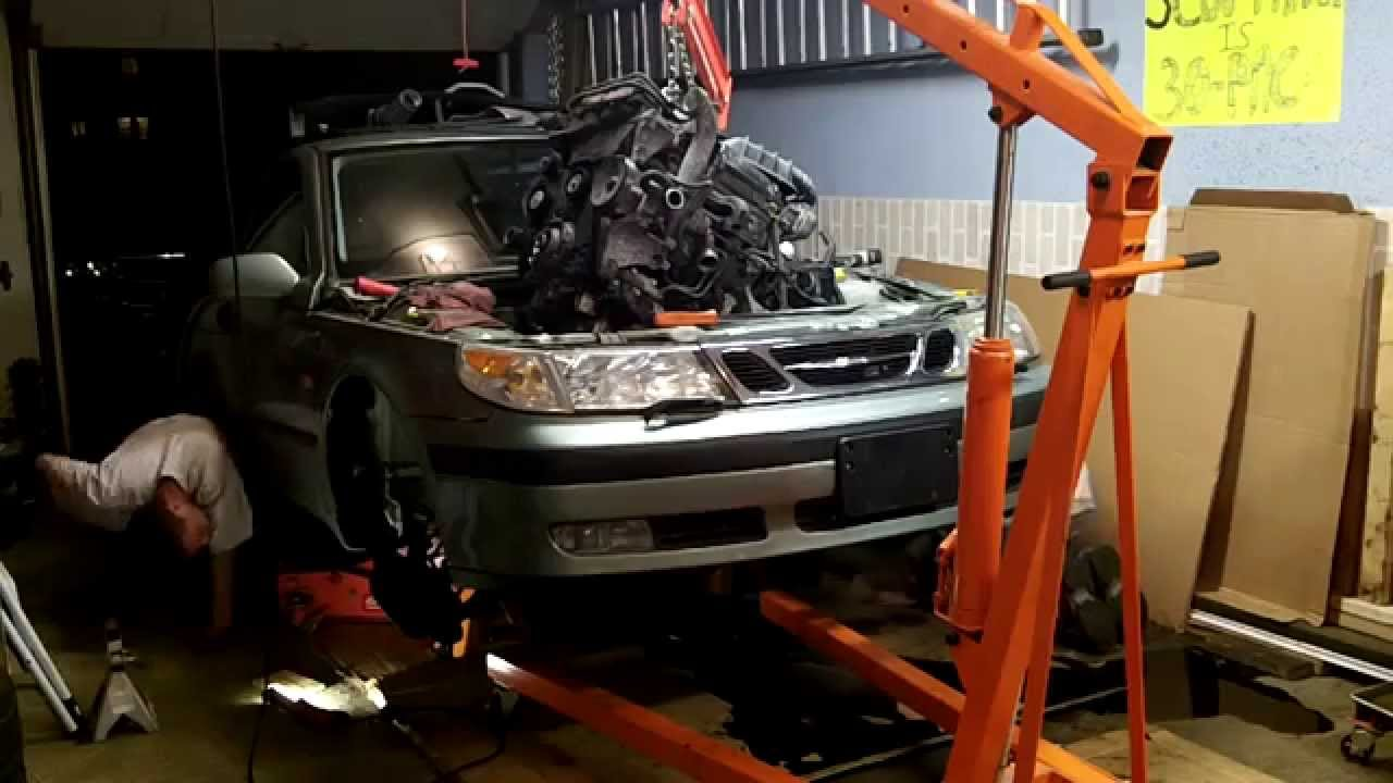 2000 saab 9 5 engine removal through top youtube