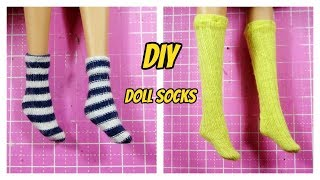 Ami DIY/ Cách may đôi vớ chân cho búp bê / How to Make Miniature Barbie Doll Socks