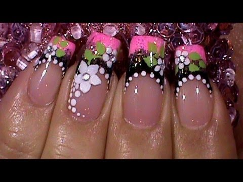 Black & Pink Floral French Manicure Nail Art Design Tutorial