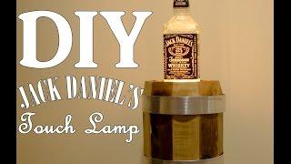 DIY Jack Daniel's Bottle Touch Lamp with Whiskey Barrel #Edison Bulb  #Pallets