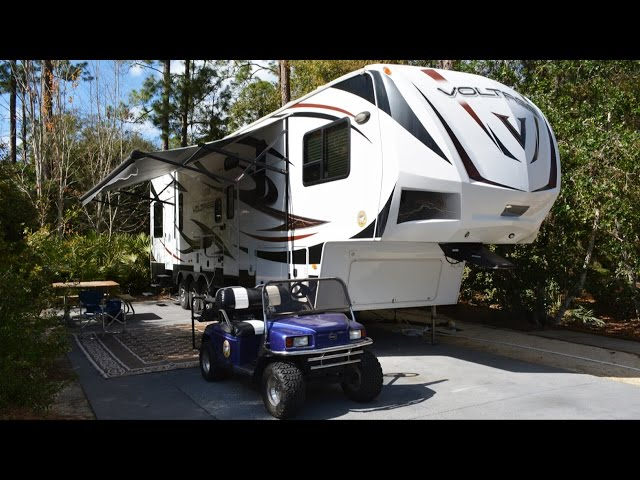 RV Tour of Moore Camping Rentals Luxury Camper Voltage V3600 While at Disney's Fort Wilderness