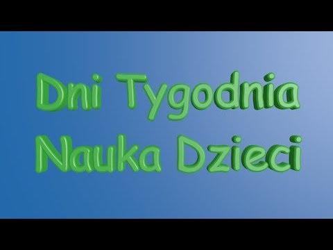 Nauka Dzieci Dni Tygodnia Polski Polish