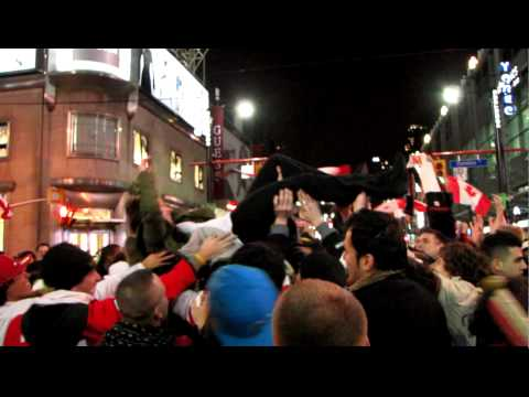 Sexy Ass Canadian Girl Crowd Surfing! - Dundas Square - Olympic Gold Party - ...
